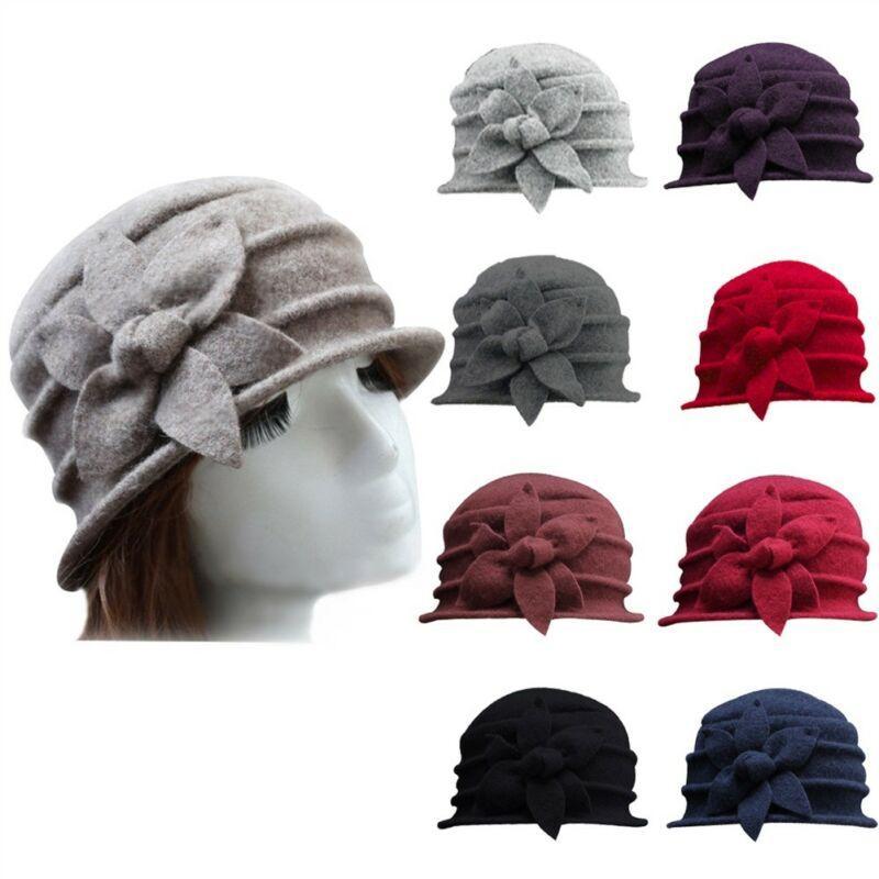 Дамы Зима Урожай Элегантный Шерстяной новых женщин способа цветок Войлок Hat Cloche ковш