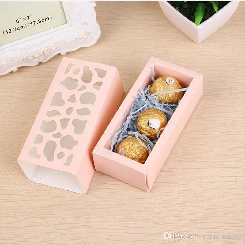Hollow Macaron contenitore di bigné contenitore di San Valentino al cioccolato imballaggio cottura pacchetto Macaron imballaggio di carta Cake Boxes 4 * 6 * 13cm