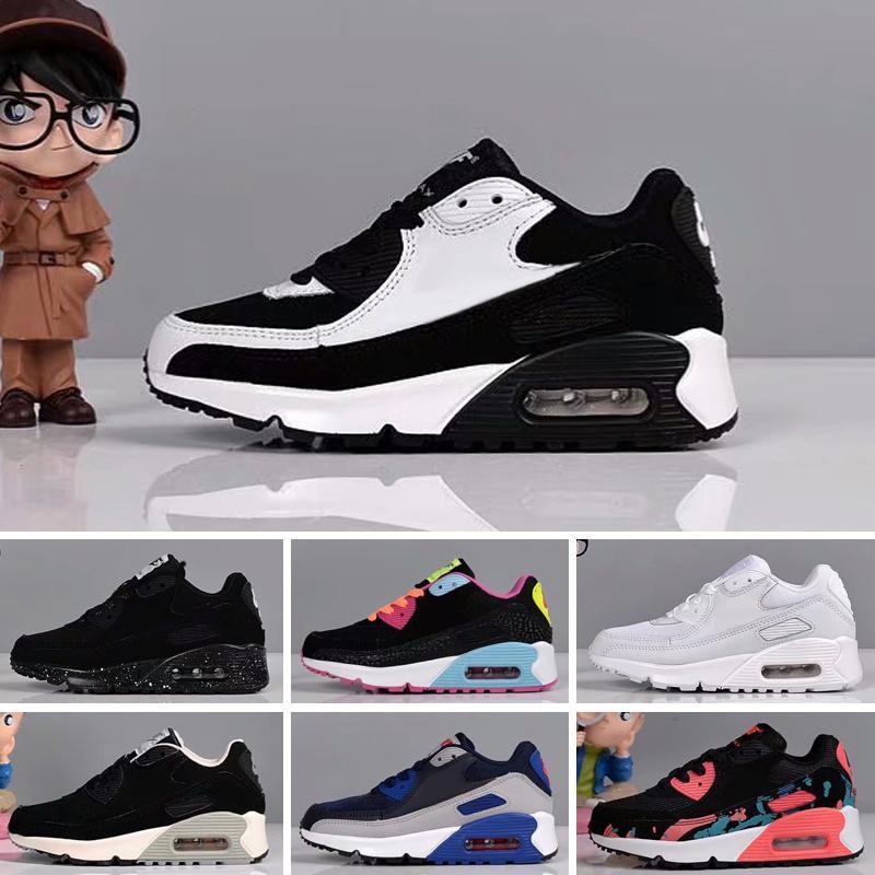 Nike Air Max 90 2018 infantile pour bébé Garçon Fille Enfants Jeunes Chaussures enfants Chaussures de sport en cours Pirate noir classique 90 Sneakers eur 28-35