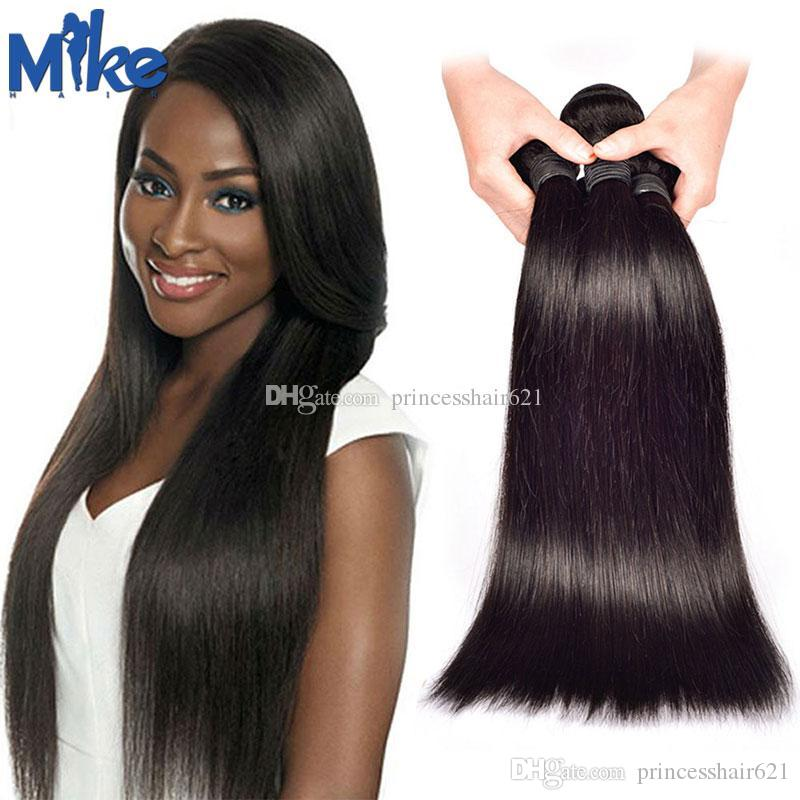 MikeHAIR Cheap Human Hair Extensions 3 Bundles Brazilian Straight Hair Weaves No Shedding Peruvian Indian Malaysian Hair Wefts