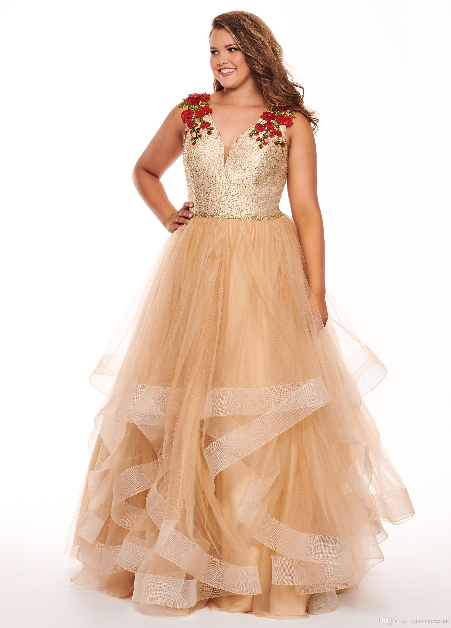 Champagne Plus Size Cheap Prom Evening Dress 2019 Ruffles Tulle Printed  Flowers Designer Lace Applique Special Occasion Formal Party Dresses Prom  2015 ...
