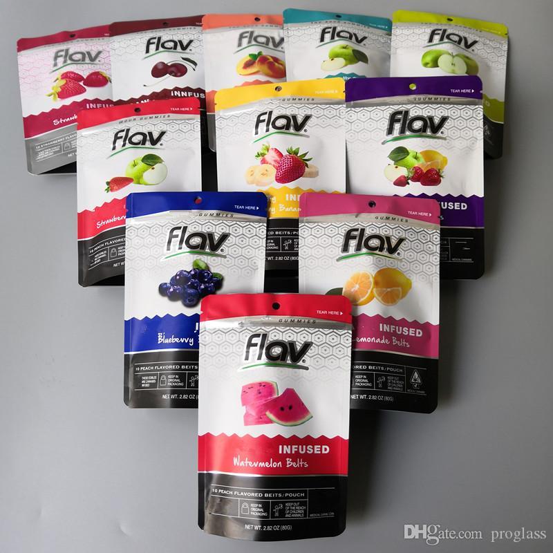 Flav Sour Gummies saco de embalagem morango Belt pêssego Anéis Remendo Gummies embalagem Cheiro Bags prova gomoso Mylar sacos