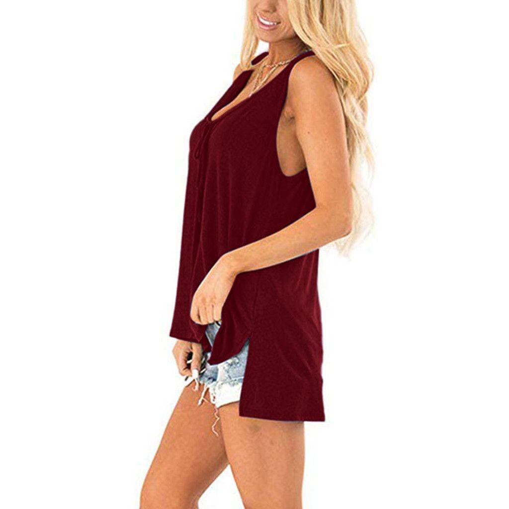 Feitong Crop Tank Tops women Solid Sexy V Neck Tank Tops Sleeveless Side Split High Low Hem Casual Shirts Tunics Streetwear
