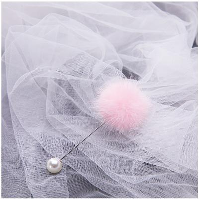 Cute Charm Pearl Brooch Pins for Women Korean Fur Ball Piercing Lapel Brooches Collar Sweater Jewelry Wedding Party Gift for Women Girls