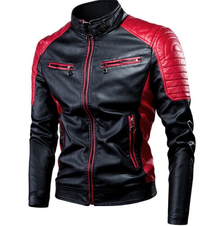 2020 Nuovo casuale cuciture Locomotiva più velluto giacche di pelle spessa cappotti basamento di modo giacca collo retrò calda in pelle Capispalla