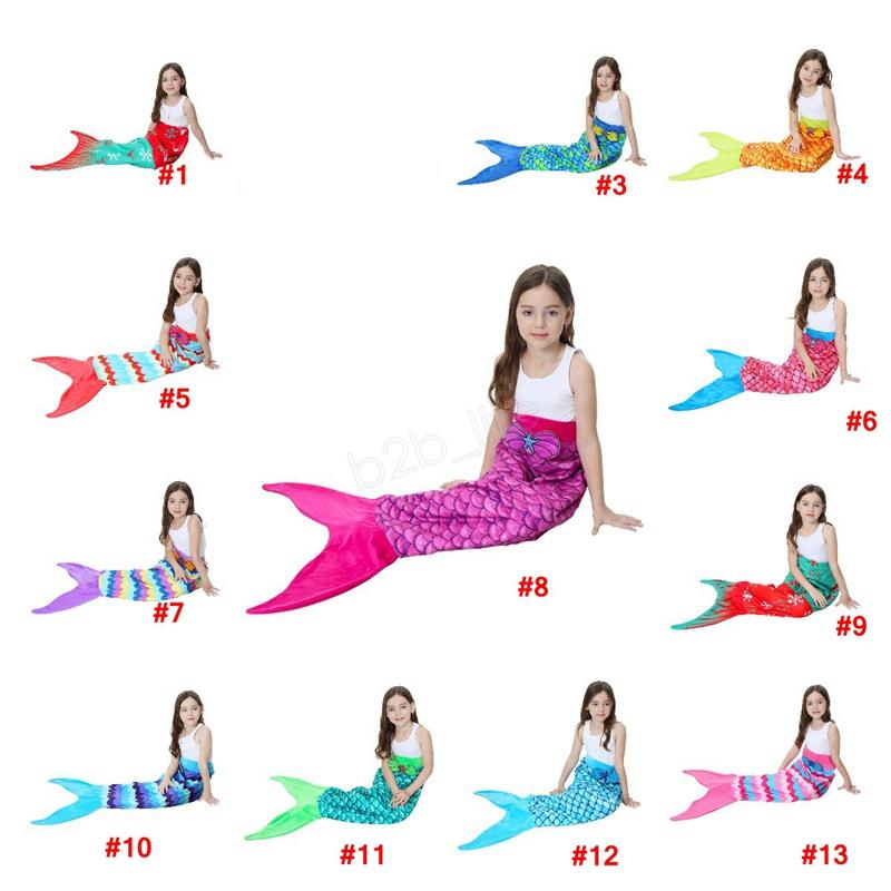 56*135cm Kids Mermaid Tail Blanket Snowflake Printing Blankets Girls children Pattern Home cartoon Bed Warm Sleeping Bag LJJA3030