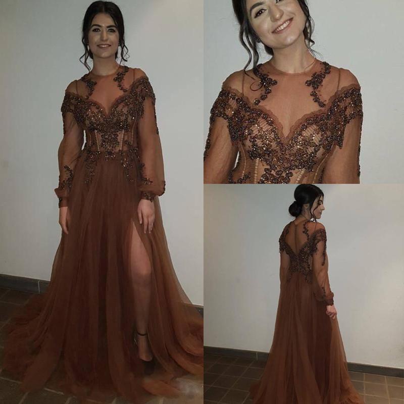 Madre della Sposa Abiti Brown Side Split Una linea Prom Dresses Jewel Vedere attraverso lunghi Bead manica paillettes Tulle partito convenzionale abito di sera