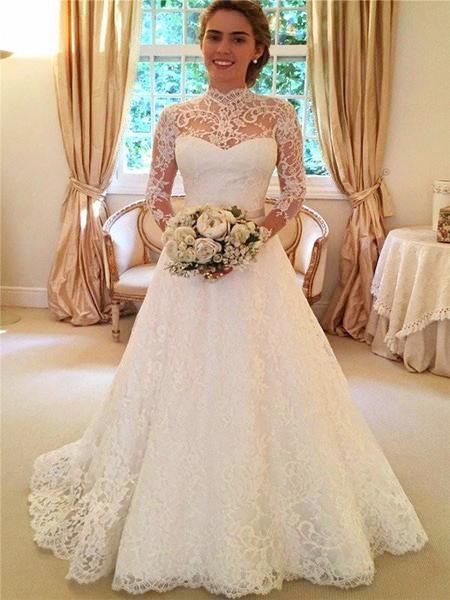 2020 Europa y los modelos de explosión de nuevo vestido de boda de Estados Unidos encaje de manga larga ver a través vestido de novia de falda larga
