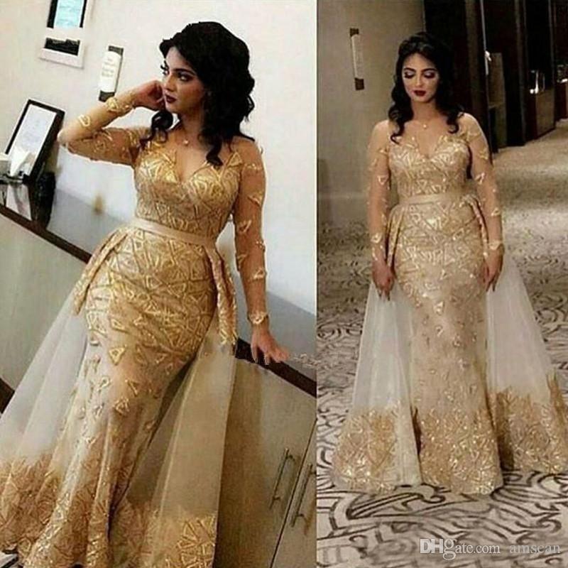 Arabe Sheer manches longues en dentelle sirène robes de soirée 2020 élégante col V Tulle Applique formelle Parti Robes robe de bal africaine Dessus de jupe
