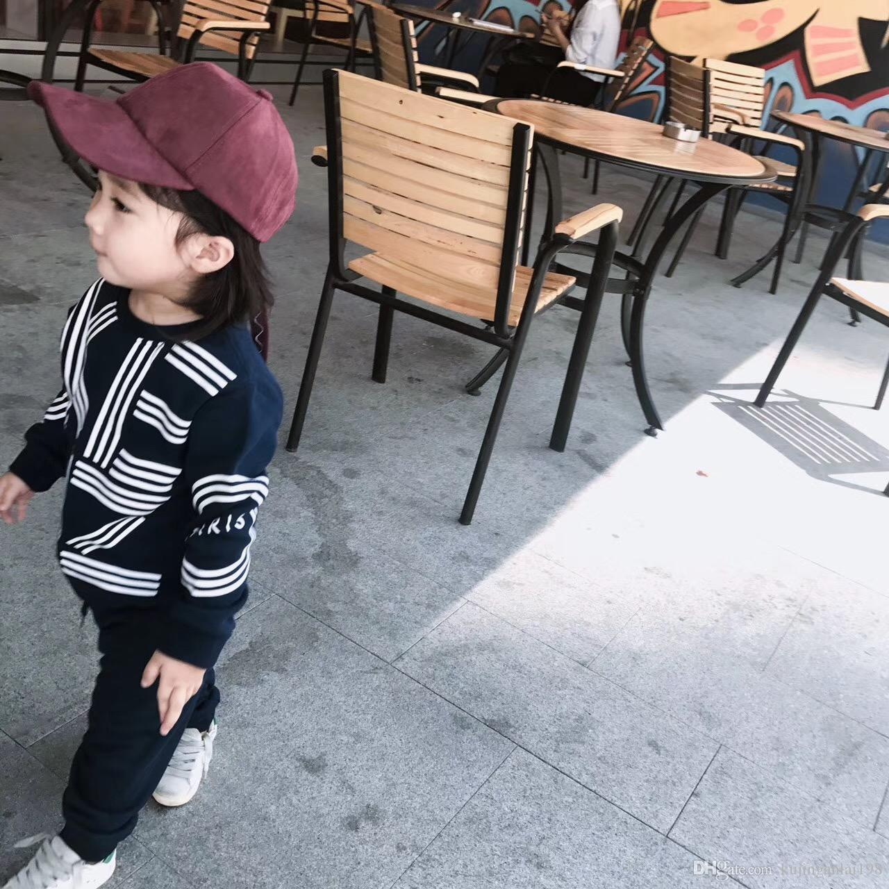 cksuit spring and autumn children's sBrand baby boy clothing set autumn casual baby girl clothing set children's suit sweatshirt + trauitA31