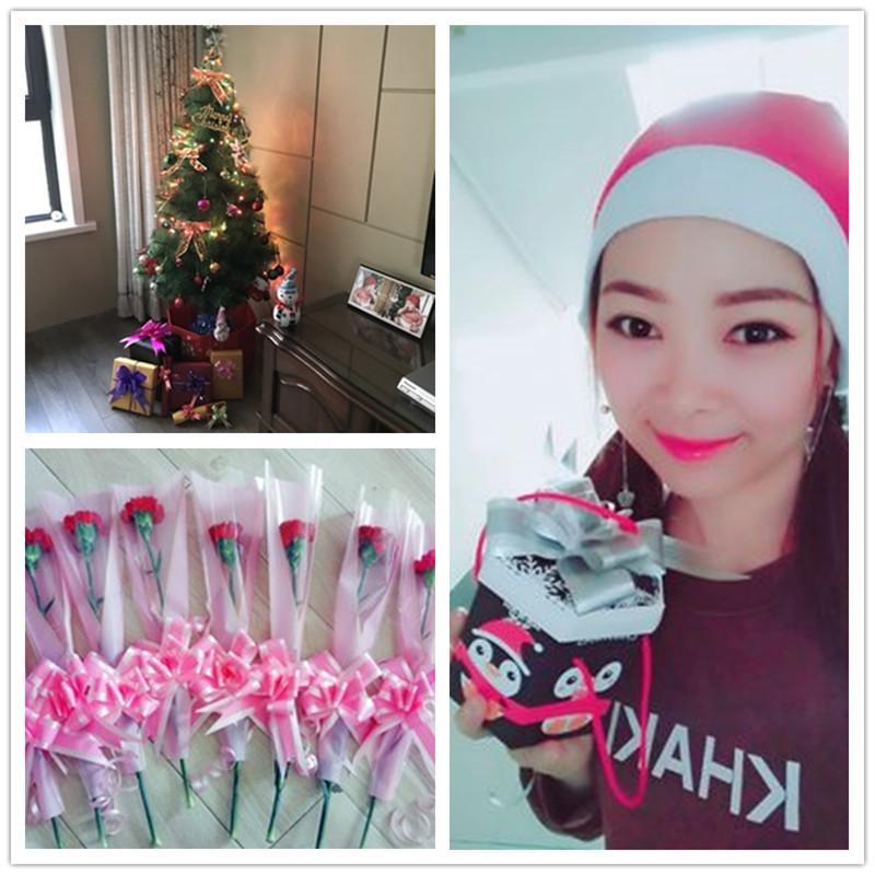 10 unids / lote 4.5cmx73cm Tiradores de plástico Cinta de regalo Caja de regalo de Navidad Adornos de envoltura Regalos de Navidad para 2018 Año Accesorios