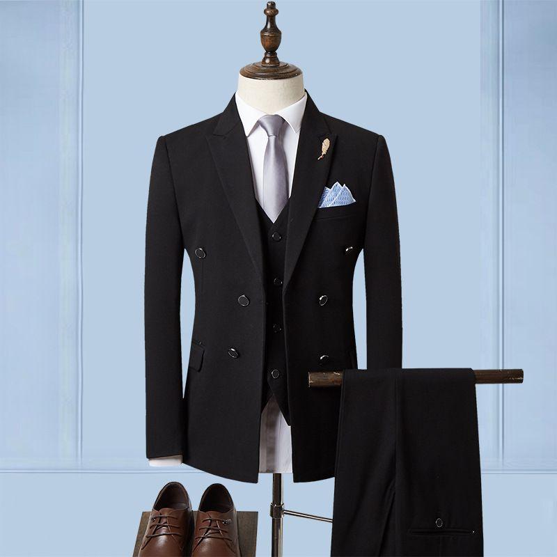 2019 der Herbst-Männer Anzug Anzug Stadt Revers Bankett Drei Stück-Packung Kleid