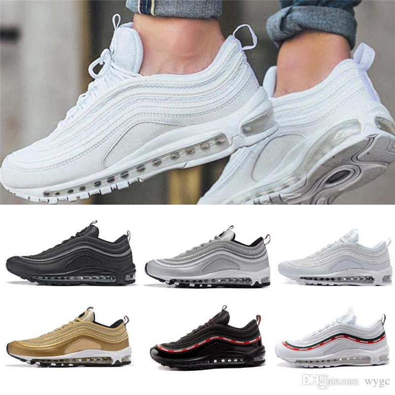 With Box 2018 97 Mens Shoes Womens Running Shoes Cushion OG Silver Gold Sneakers Sport Athletic Men 97 Sports Outdoor Shoes SZ5.5-11