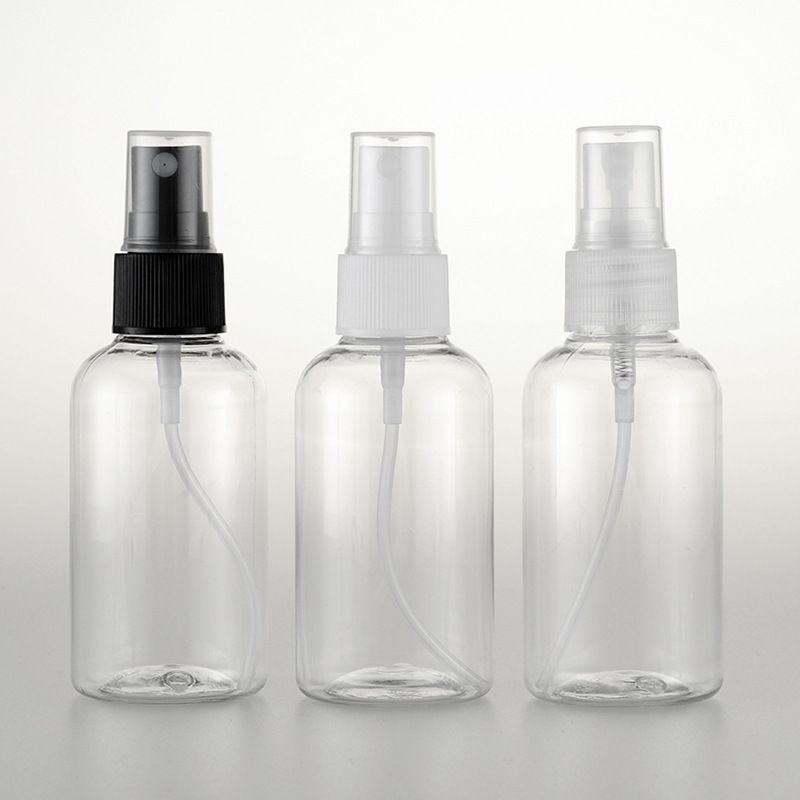 50pc / lot 75ml flacon pompe de pulvérisation de couleur clair de Voyage PET pour l'emballage cosmétique, 75cc plastique des bouteilles vides pour le liquide