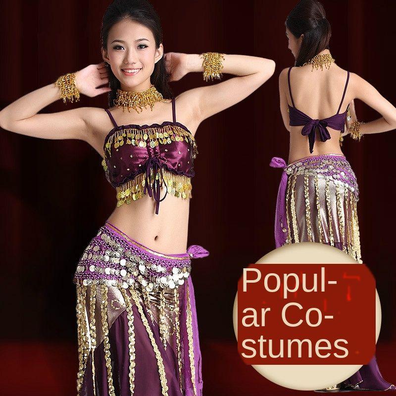 Belly nuovo adulto costume di ballo professionale Oriental Dance Performance Abbigliamento 3/6 pezzi Set ventre paillettes Bra Gonna Belt