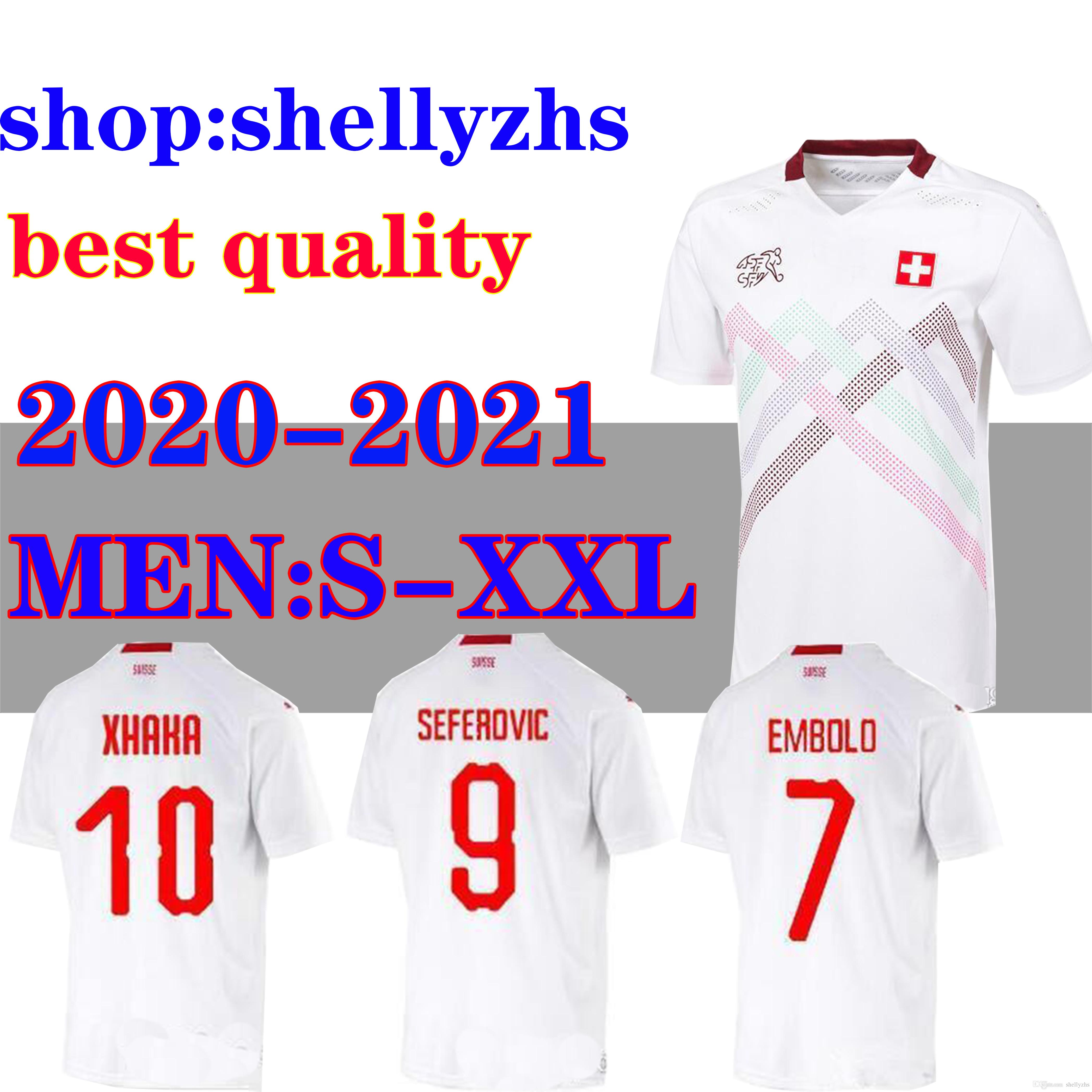 Suisse 2020 2021 Suiza Jerseys de fútbol lejos 20 21 Suiza Akanji Zakaria Rodriguez Elvedi National Team Football Shirts