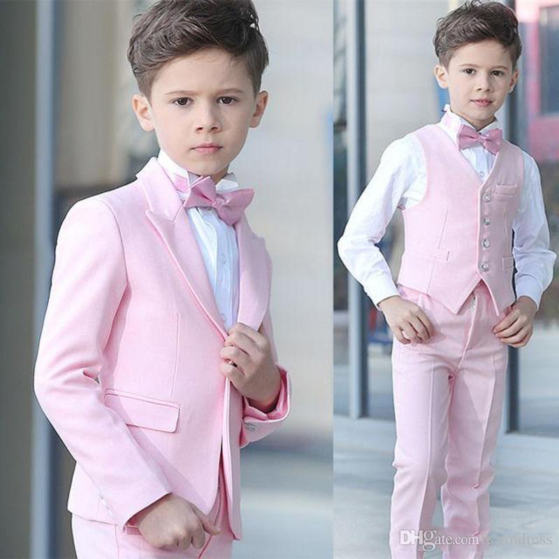 Pink Boy Wedding Tuxedos 2019 Peak Lapel One Button Kids Suits for Prom Custom Made Ring Bearer Suits (Jacket+Pants+Vest+Bow)