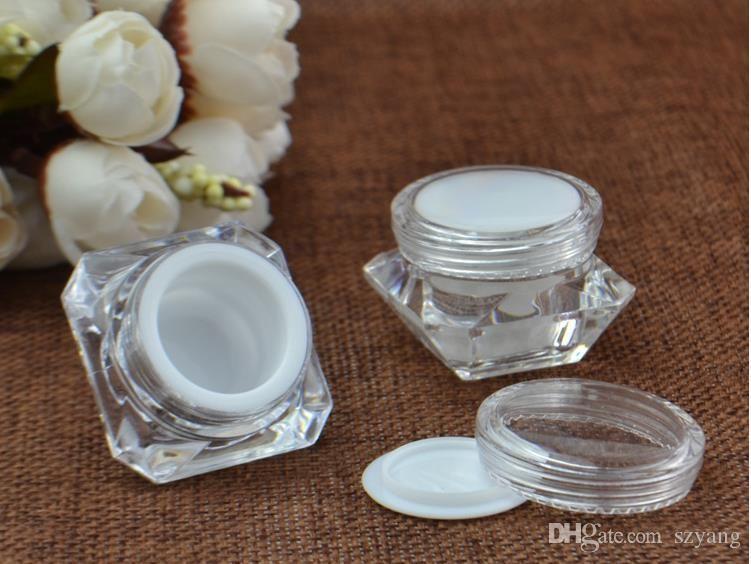 Forma 5 g 10 g 15 g Crema de diamante caja de acrílico diamante Crema Botella de plástico de embalaje de maquillaje Crema tarros cosméticos SN4222 Packaging