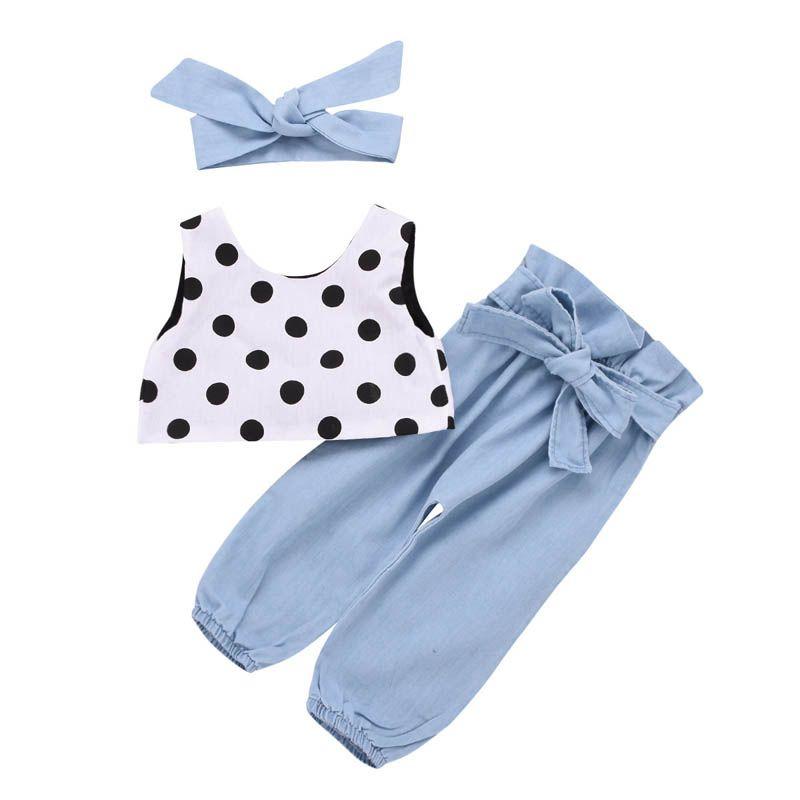 Ins Kızlar Kıyafetler Yaz kız bebek giysileri Kız Takım Elbise 3 adet yelek tops + Kot pantolon + yaylar bebek bantlar Çocuk Setleri çocuklar giysi A4825