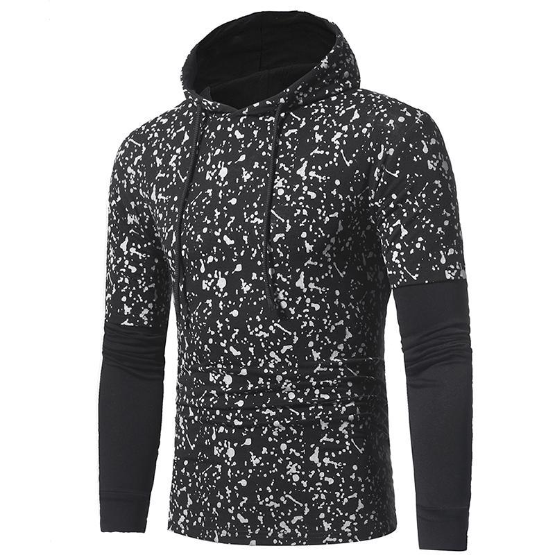2019 Frühling Mens New Sweatshirt 2 Farben Tintenpunkte Prnted Panalled Langarm mit Kapuze T-Shirt freies Shippig