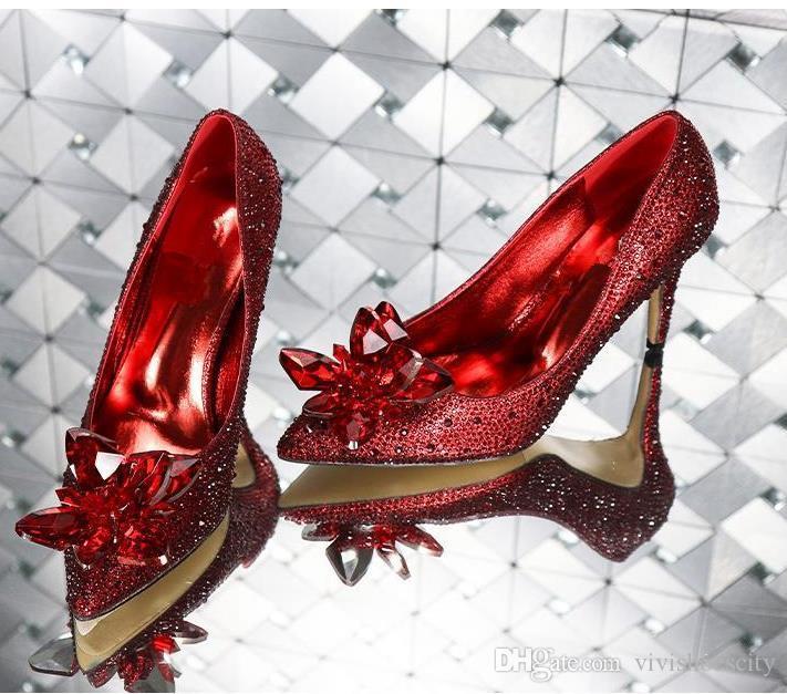 크리스탈 플라워 디자이너와 고급 신데렐라 크리스탈 신발 신부 모조 다이아몬드 웨딩 신발 사이즈 (33) 펌프 (34) 40 (41)