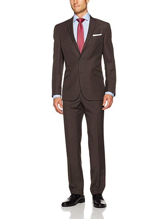 Brown Bespoke Wedding Suits For men Notched Collar Slim Fit 2 Pieces (Jacket with Pants) Wedding Groom Prom Tuxedos Suits