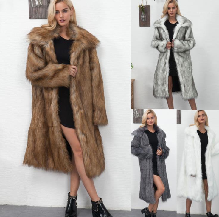 Revers Jacken beiläufige Art und Weise Lange Mäntel Frauen Kleidung Faux-Pelz-Frauen-Entwerfer-Mantel-Winter-Mode verdickte Warm
