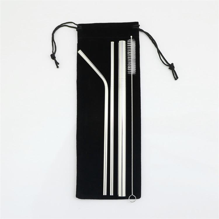4pcs / set Aço inoxidável Palhas Bebendo metal bolha Smoothie Palhas com a escova de limpeza e preto Pouch