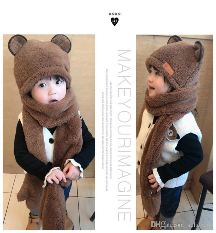 Korean version of parent-child children hat scarf gloves for men and women three one suit autumn and winter warm thickened scarf hat