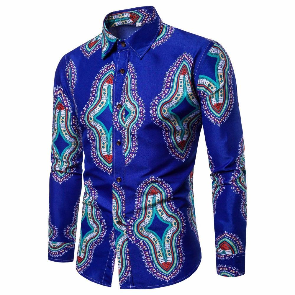 Camisas casuales para hombres 2021men camisa de impresión floral manga larga hombres ropa flores 3D impreso vintage lino primavera