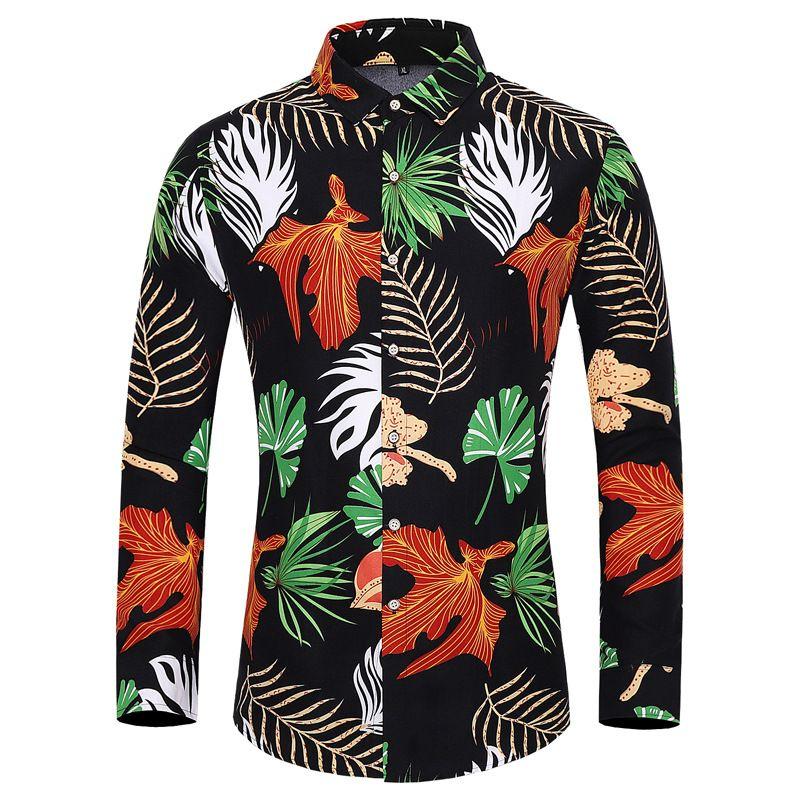E-Baihui 2020 European and American Men's Long-sleeved Floral Shirt, Autumn New Casual Square-neck Shirt, Printed Men's Shirt M-7XL403