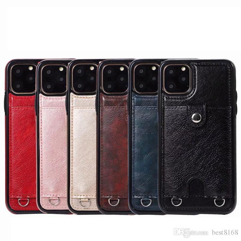 Tarjeta de identificación de la caja del cuero de la ranura para Iphone 11 Pro MAX 2019 Galaxy Note 10 Pro Plus Caja de tarjetas de bolsillo de teléfono de la cubierta trasera magnética + cuerda del hombro de lujo