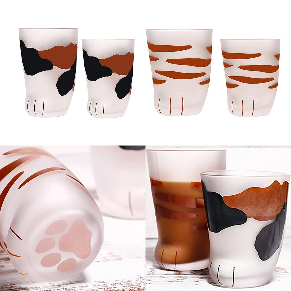 230/300ml Mug Heat-Resistant Glass Cat Cup Tiger Paws Office Matte Cat Paws Creative Milk Coffee Cup Cute Children Drink Bottle