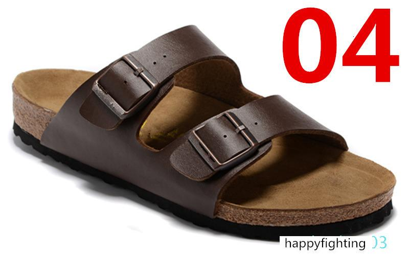 O estilo de Arizona Mulheres Plano Sandals Mulheres Duplo Buckle famosa praia do verão sapatos de design Top Quality Genuine Leather Slippers 36-47 AT03