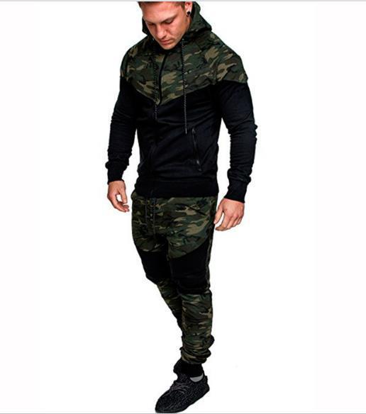 Hommes Designer Camouflage Patchwork Survêtements Pull Mode manches longues Pulls Pantalons longues actifs Vêtements décontractés Hommes