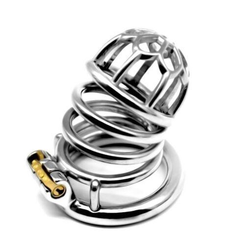 Neue Edelstahl-Keuschheitsgürtel Gerät Keuschheitskäfig Fetisch Lock-030A