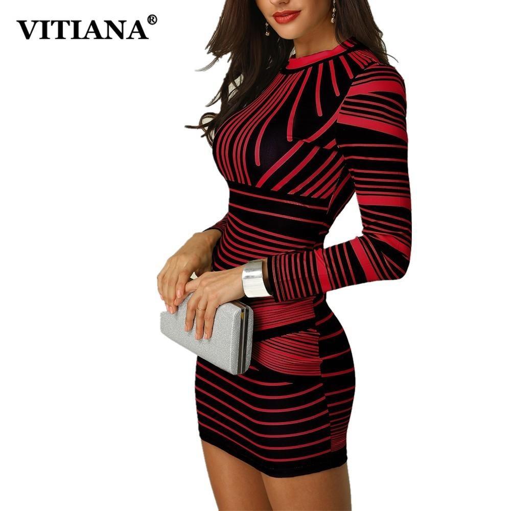 Vitiana Kadınlar Kısa Bodycon Parti Elbise Kadın 2018 Kış Uzun Kollu Kırmızı Siyah Çizgili Baskı Zarif Kalem Kulübü Gündelik Elbise