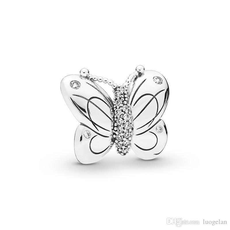 2019 Primavera 925 gioielli in argento Sterling decorativi Perline farfalla di fascino Adatto Fare Pandora collana dei braccialetti per le donne fai da te