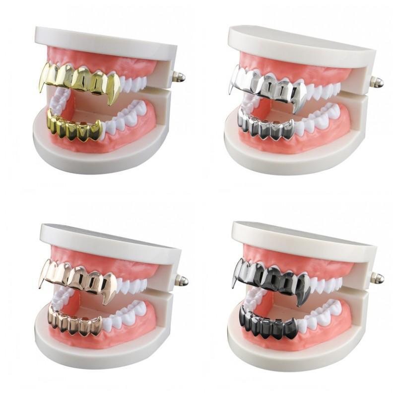 Multi Color Gold überzogene Zahn Grillz spitze Zähne Ornament Zahn Sleeve Glatte Zahnklammern 11 gute Qualität 68CL H1