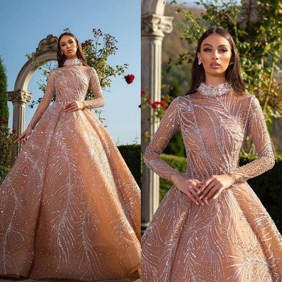 2020 Stunning Abendkleider hoher Ansatz wulstige Pailletten langen Ärmeln Abschlussball-Kleid mit Rüschen Fußboden Länge nach Maß formales Partei-Kleid