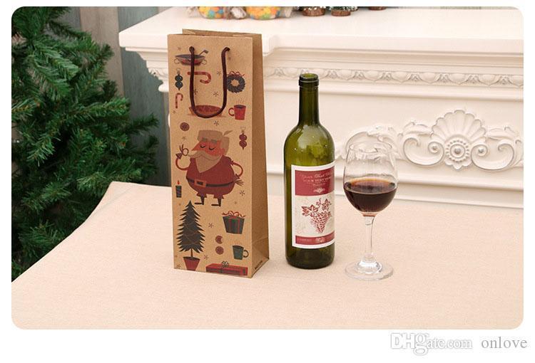 2 styles of Christmas red wine paper bag kraft paper handbag birthday gift party gift bottle packaging XD22649