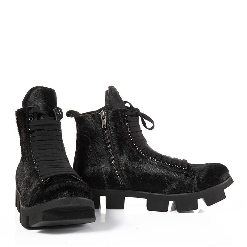 High Street Kış Kalın Alt Gerçek Deri Erkek Kar Boots At Saç Kürk Lace Up Vintage Bilek Boots Calzado Hombre Zip
