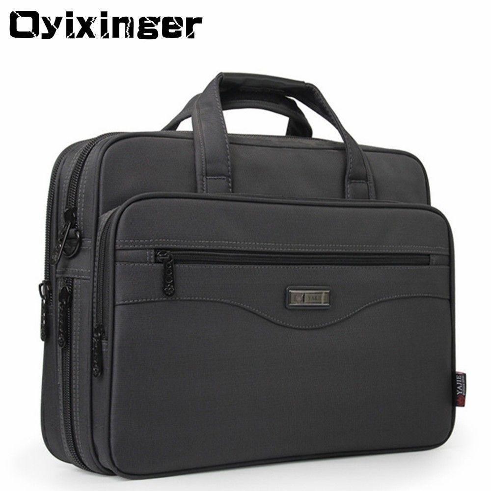 "Oyixinger Men Briefcase Laptop Bags Good Nylon Cloth Multifunction Waterproof 15.6"" Handbags Business Shoulder Mens Office Bags SH190918"