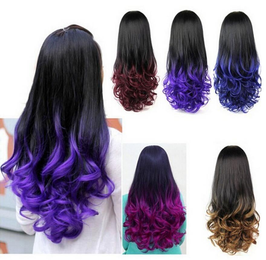 FZP 5 colores para mujer Moda Ombre Peluca Caída Dip Dye Media peluca Nueva pelusa esponjosa Color degradado 3/4 Media gorra Pelucas de pelo largo y rizado