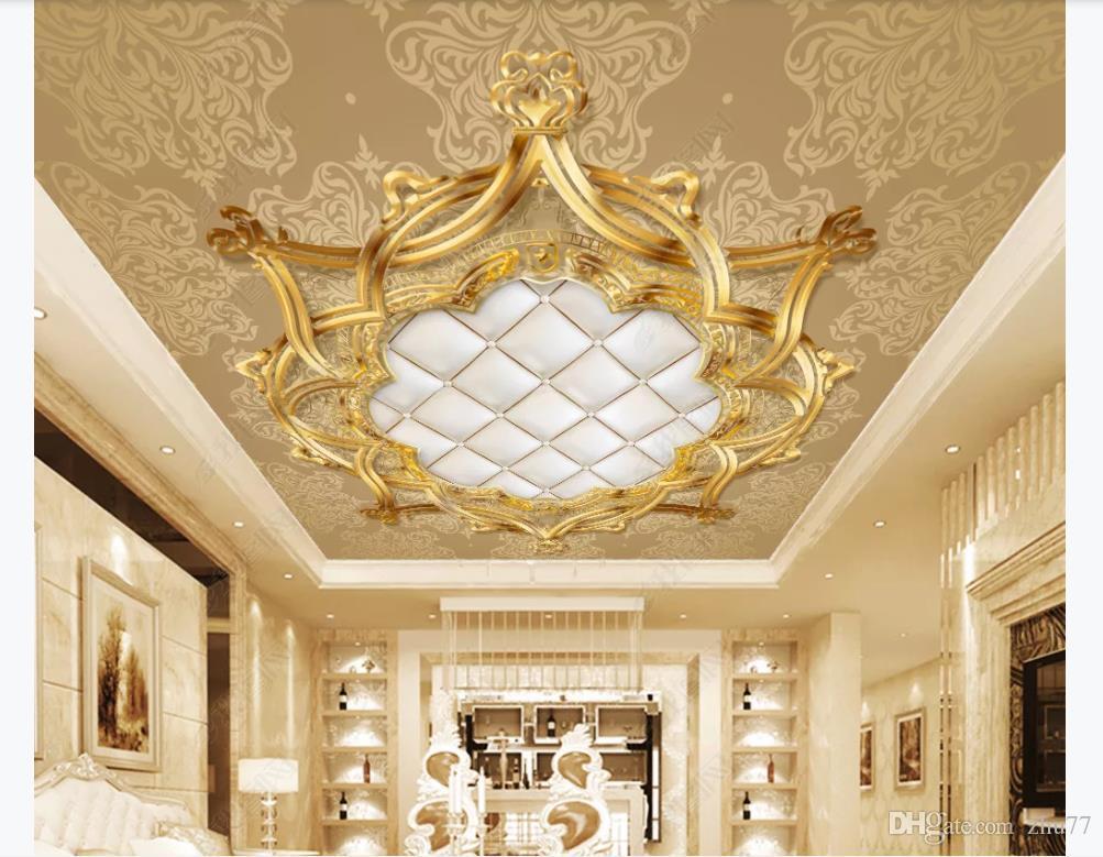 Personalizado Grande Teto Zenith Mural Foto Papel De Parede Ouro estilo Europeu teto padrão europeu saco macio zenith teto mural decoração