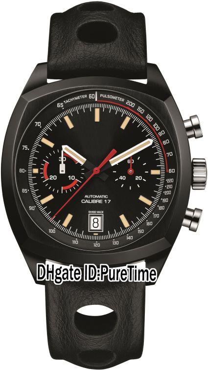 Yeni Monza Yıldönümü CR2080.FC6375 PVD Çelik Tüm Siyah Arama Miyota Kuvars Chronograph Erkek İzle Kronometre Saatler Deri Puretime TA136