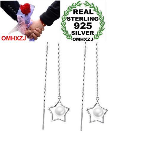 OMHXZJ Wholesale Fashion pentagram pearls Women kpop star 925 Sterling Silver Tassel pendant drop Long Ear Line Earrings YS146