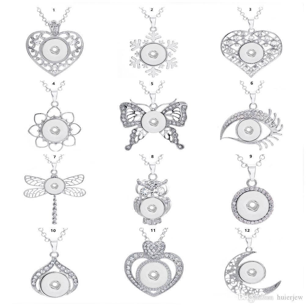 Gioielli Collana donne Snap Snap collana di modo Diy Ginger Snap con charms a catena Fit 18 millimetri fascino Button dono squisito collane