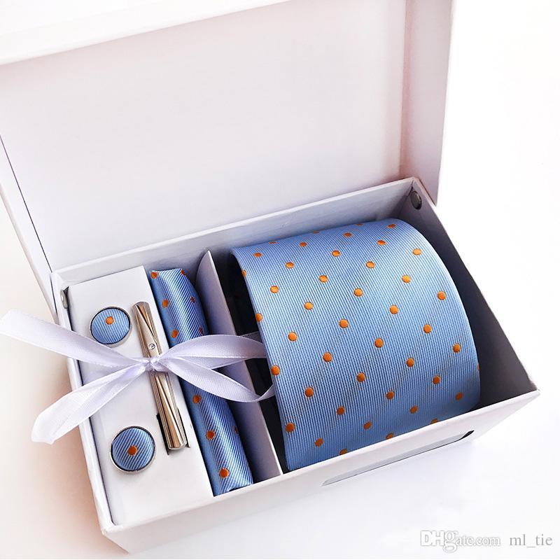 Polka Dots Neck Tie Set Necktie Paisley Men Silk Tie British Style Business Tie Hanky Sets Wedding Party Accessories