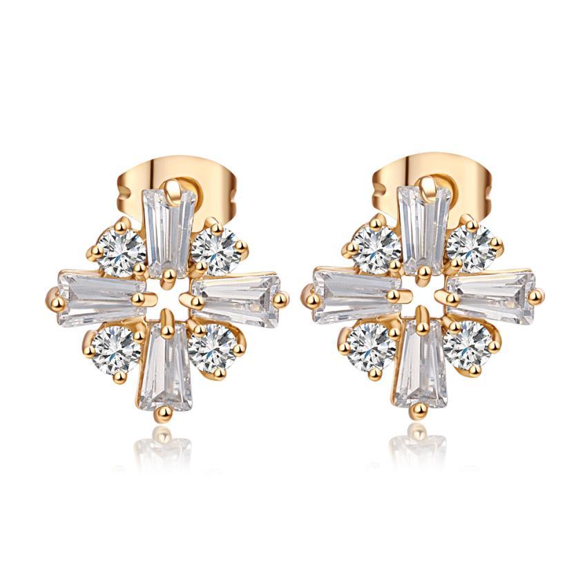 Partito gioielli di moda oro giallo 18K ha placcato chiaro Cubic Zirconia CZ Fiori orecchini per le donne